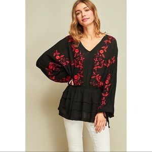 Peasant Top with Floral Embroidery - Black